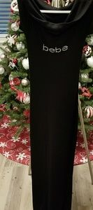 BEBE Black Logo Maxi Dress Foldover Neckline